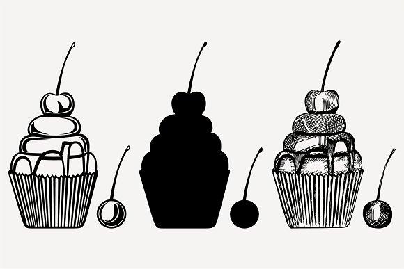 cherry cupcake set vector SVG PNG