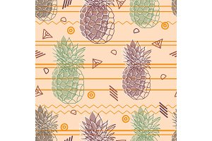 Vintage tribal pineapples vector background seamless repeat pattern. Summer colorful tropical textile print.