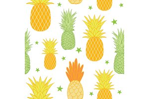 Pineapples and stars vector background seamless repeat pattern. Summer colorful tropical textile print.