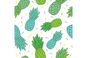 Vector blue green pineapples doodle texture summer tropical seamless pattern background. Great as a textile print, party invitation or packaging.