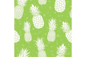 Vector green pineapples summer colorful tropical seamless pattern background. Great as a textile print, party invitation or packaging.