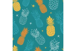 Vector teal blue and yellow oineapples summer colorful tropical seamless pattern background. Great as a textile print, party invitation or packaging.