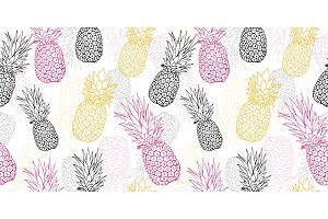 Vector yellow grey pink pineapple polka dot summer tropical seamless pattern background. Great as a textile print, party invitation or packaging.