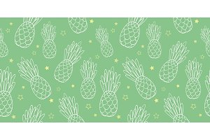 Vector pineapples doodle green texture summer tropical seamless pattern background. Great as a textile print, party invitation or packaging.