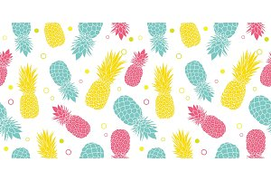 Vector colorful pineapples summer tropical seamless pattern background. Great as a textile print, party invitation or packaging.