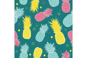 Vector dark green summer colorful tropical seamless pattern background. Great as a textile print, party invitation or packaging.