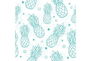 Vector doodle turquoise blue pineapples and stars summer tropical seamless pattern background. Great as a textile print, party invitation or packaging.
