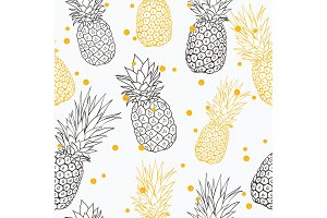 Vector yellow grey pineapple polka dot summer tropical seamless pattern background. Great as a textile print, party invitation or packaging.