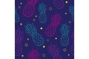 Vector doodle dark blue pink pineapples summer tropical seamless pattern background. Great as a textile print, party invitation or packaging.