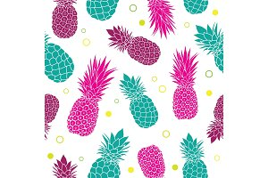Vector green pink pineapples summer colorful tropical seamless pattern background. Great as a textile print, party invitation or packaging.