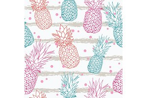 Vector pineapple on grunge stripes summer colorful tropical seamless pattern background. Great as a textile print, party invitation or packaging.