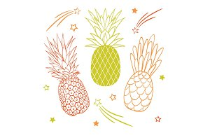 Vector set of three pastel pineapple fruit styles summer tropical object collection. Great for travel, party invitation or packaging.