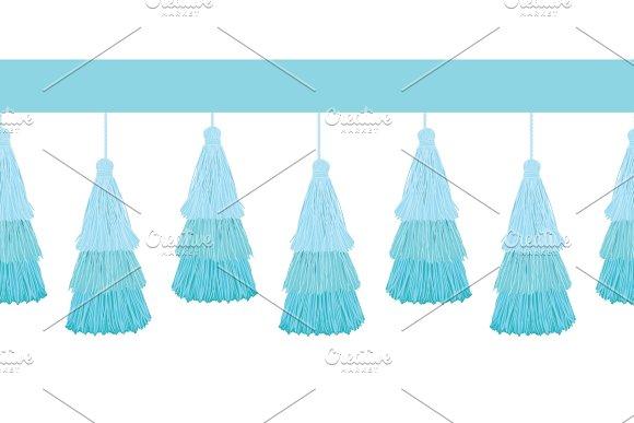 Vector Layered Blue Decorative Tassels Set Horizontal Seamless Repeat Border Pattern Great For Handmade Cards Invitations Wallpaper Packaging Nursery Designs