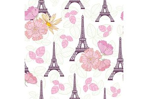 Vector Spring Purple Pink Eifel Tower Paris and Roses Flowers Seamless Repeat Pattern Surrounded By St Valentines Day Hearts Of Love. Perfect for travel themed postcards, greeting cards, wedding invitations.