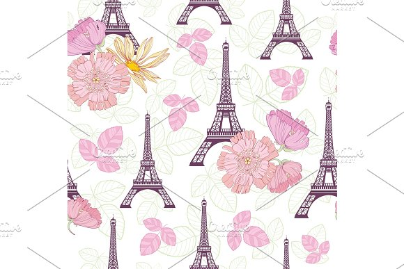 Vector Spring Purple Pink Eifel Tower Paris And Roses Flowers Seamless Repeat Pattern Surrounded By St Valentines Day Hearts Of Love Perfect For Travel Themed Postcards Greeting Cards Wedding Invitations