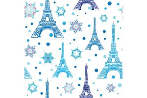 Vector Blue White Eifel Tower Paris and Snowflakes Seamless Repeat Pattern. Perfect for holiday travel themed postcards, greeting cards, Christmass greeting cards.