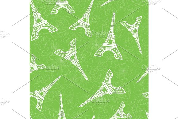 Vector Green Eifel Tower Paris And Roses Flowers Seamless Repeat Pattern Perfect For Travel Themed Postcards Greeting Cards Wedding Invitations