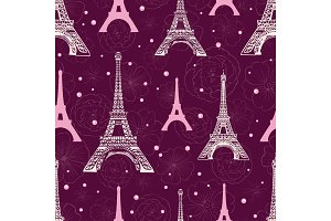 Vector Purple Pink Eifel Tower Paris and Roses Flowers Seamless Repeat Pattern Surrounded By St Valentines Day Hearts Of Love. Perfect for travel themed postcards, greeting cards, wedding invitations.