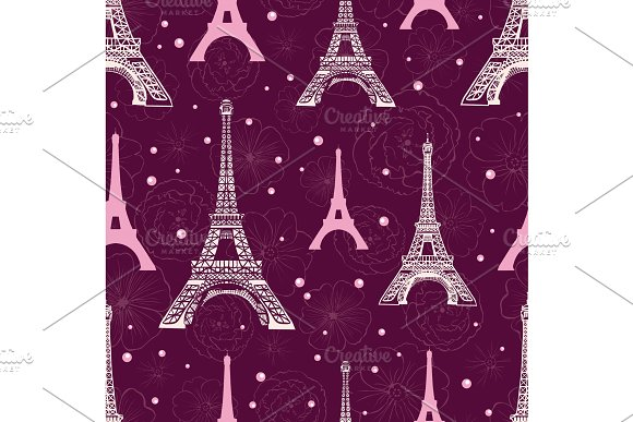 Vector Purple Pink Eifel Tower Paris And Roses Flowers Seamless Repeat Pattern Surrounded By St Valentines Day Hearts Of Love Perfect For Travel Themed Postcards Greeting Cards Wedding Invitations