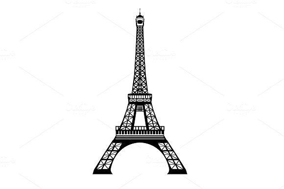 Vector Ink Black Eifel Tower Hand Drawn Landmark Symbol Of Paris France Great For French Invitations Greeting Cards Postcards Gifts