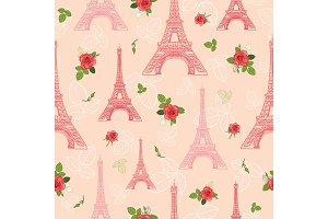 Vector Pink Red Eifel Tower Paris and Roses Flowers Seamless Repeat Pattern Surrounded By St Valentines Day Romantic Love. Perfect for travel themed postcards, greeting cards, wedding invitations.