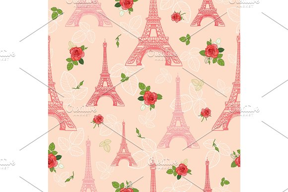 Vector Pink Red Eifel Tower Paris And Roses Flowers Seamless Repeat Pattern Surrounded By St Valentines Day Romantic Love Perfect For Travel Themed Postcards Greeting Cards Wedding Invitations