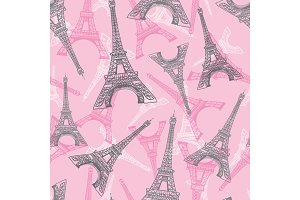 Vector Pink Grey Eifel Tower Paris Seamless Repeat Pattern. Perfect for travel themed postcards, greeting cards, invitations, packaging.