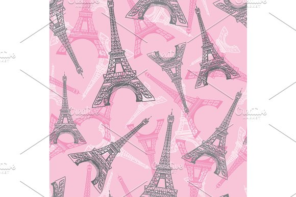 Vector Pink Grey Eifel Tower Paris Seamless Repeat Pattern Perfect For Travel Themed Postcards Greeting Cards Invitations Packaging