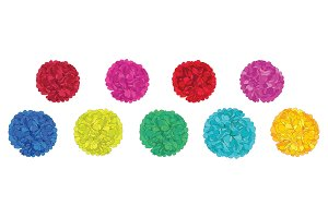 Vector Set of Fun Colorful Birthday Party Paper Pom Poms. Great for handmade cards, invitations, wallpaper, packaging, nursery designs.