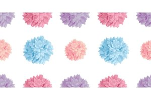 Vector Fun Pastel Colorful Birthday Party Paper Pom Poms Set Horizontal Seamless Repeat Border Pattern. Great for handmade cards, invitations, wallpaper, packaging, nursery designs.