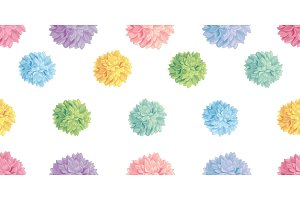 Vector Cute Pastel Colorful Birthday Party Paper Pom Poms Set Horizontal Seamless Repeat Border Pattern. Great for handmade cards, invitations, wallpaper, packaging, nursery designs.