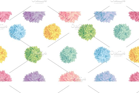 Vector Cute Pastel Colorful Birthday Party Paper Pom Poms Set Horizontal Seamless Repeat Border Pattern Great For Handmade Cards Invitations Wallpaper Packaging Nursery Designs