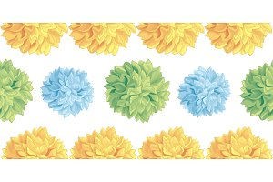 Vector Cute Pastel Yellow, Blue, Green Birthday Party Paper Pom Poms Set Horizontal Seamless Repeat Border Pattern. Great for handmade cards, invitations, wallpaper, packaging, nursery designs.