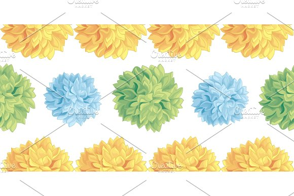 Vector Cute Pastel Yellow Blue Green Birthday Party Paper Pom Poms Set Horizontal Seamless Repeat Border Pattern Great For Handmade Cards Invitations Wallpaper Packaging Nursery Designs