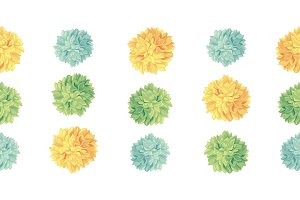 Vector Cute Yellow Green Birthday Party Paper Pom Poms Set Horizontal Seamless Repeat Border Pattern. Great for handmade cards, invitations, wallpaper, packaging, nursery designs.