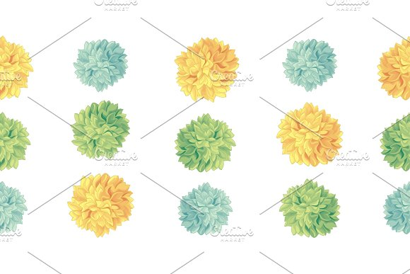 Vector Cute Yellow Green Birthday Party Paper Pom Poms Set Horizontal Seamless Repeat Border Pattern Great For Handmade Cards Invitations Wallpaper Packaging Nursery Designs