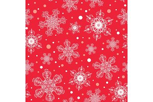 Vector holiday white red hand drawn christmass snowflakes repeat seamless pattern background. Can be used for fabric, wallpaper, stationery, packaging.