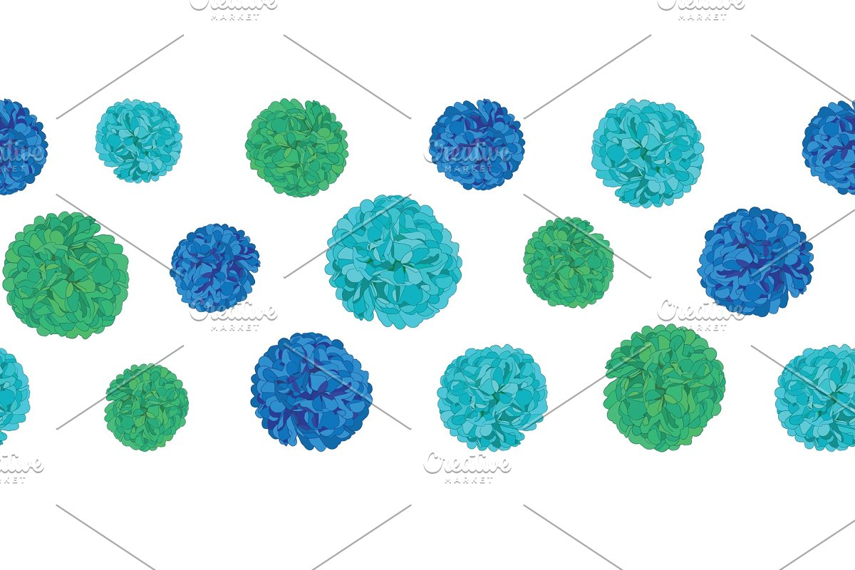 Vector Blue Birthday Party Paper Pom Poms Set Horizontal Seamless Repeat Border Pattern Great For Handmade Cards Invitations Wallpaper Packaging