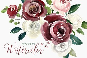 Vintage Watercolor Roses Flowers PNG