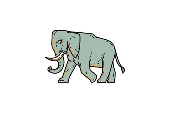 African Elephant Walking Mono Line A