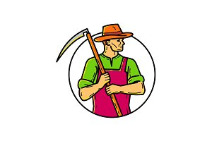 Organic Farmer Scythe Mono Line Art
