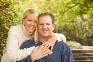 Caucasian Couple Portrait Outdoors