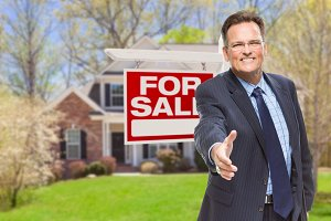 Agent with Hand Out & Sale Sign