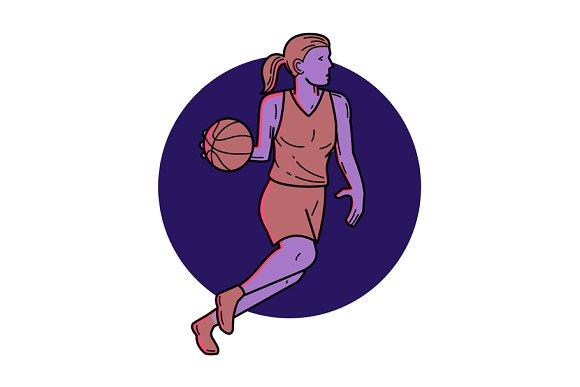 Woman Basketball Player Dribbling Mo