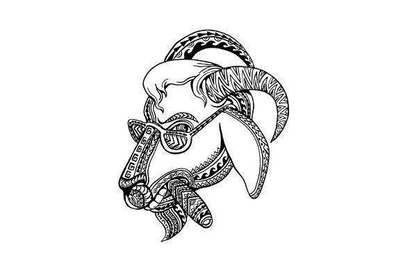 Goat Cigar Tribal Tattoo Style