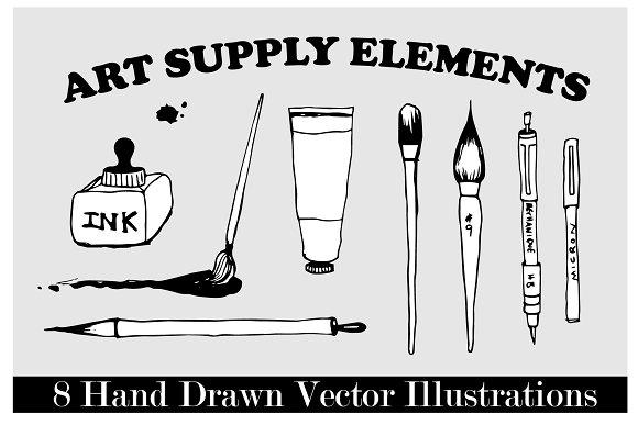 8 Hand Drawn Art Supply Illustration