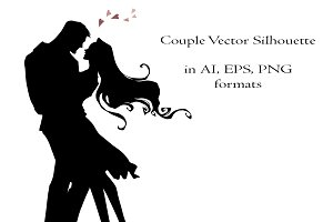Couple vector silhouette