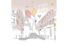 Birthday card from Paris, hand drawn