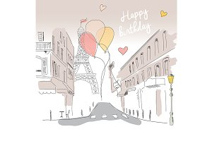 Birthday card from Paris, hand drawn