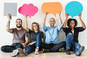 Diverse people with speech bubbles